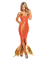 Costumes Mermaid Tail Halloween / Noël / Carnaval / Nouvel an Doré / Orange Vintage Térylène Robe