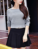 Women's Casual/Daily Simple Short Pullover,Solid Gray Round Neck Long Sleeve Cotton Spring / Fall Medium