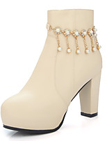 Women's Boots Fall / Winter Fashion Boots / Round Toe Party & Evening / Dress / Casual Chunky Heel Zipper / Chain