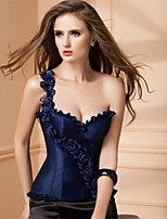 Women Chest Up Palace Fitness Clothing Roses Shoulder Flounced Pure Color Abdomen Spandex  Overbust Corset
