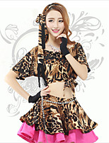 Belly Dance Tops Women's Performance Spandex Leopard 1 Piece Leopard Print Belly Dance Short Sleeve Natural Top