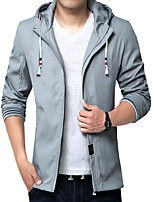 Men's Long Sleeve Casual / Work Jacket,Cotton / Acrylic / Polyester Solid Black / Blue / Red / Gray 916347