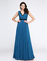 TS Couture® Formal Evening Dress A-line V-neck Floor-length Chiffon with Criss Cross