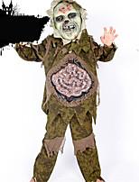 Costumes Zombie Halloween Vert Couleur Pleine Lin Haut / Pantalon / Masque