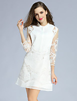 KLIMEDA  Women's Casual/Daily Sexy Shift Dress,Embroidered Round Neck Above Knee ¾ Sleeve White Polyester Fall