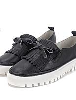 Mujer-Plataforma-Creepers-Zapatos de taco bajo y Slip-Ons-Casual-Cuero-Negro / Blanco