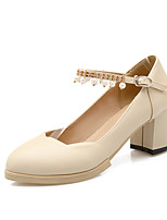 Women's Shoes PU Summer/Round Toe Heels Office & Career/Casual Chunky Heel Imitation Pearl/Buckle Black/White/Beige