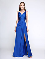 Lanting Bride® Floor-length Satin Chiffon Bridesmaid Dress - Elegant Sheath / Column V-neck with Criss Cross
