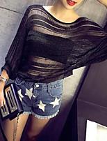 Damen Standard Pullover-Lässig/Alltäglich Einfach Solide Weiß / Schwarz / Grau Rundhalsausschnitt ¾-Arm Baumwolle Sommer Mittel