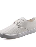 Hombre-Tacón Plano-Confort-Zapatillas de deporte-Exterior / Oficina y Trabajo / Casual-Cuero-Negro / Blanco