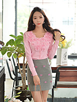 DABUWAWA® Women's Round Neck Long Sleeve Solid Flowers Sweatshirt