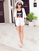 Boutique S Women's Going out Sexy / Cute / Street chic Spring SetSolid / Print Cowl Short Sleeve White Cotton/Set