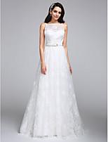 A-라인 웨딩 드레스 바닥 길이 보트넥 레이스 와 레이스 / 허리끈 / 리본