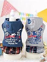 Dog Hoodie Blue / Gray Winter / Spring/Fall Britsh / Stripe Plaid, Dog Clothes / Dog Clothing