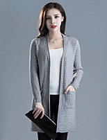 Women's Casual/Daily Street chic Long Cardigan,Solid Red / Gray Cowl Long Sleeve Cotton Spring / Fall Medium