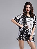 # Damen Rundhalsausschnitt Kurze Ärmel Shirt & Bluse Schwarz und Weiss-5026