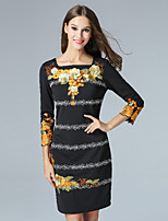 Boutique S Women's Casual/Daily Vintage Shift Dress,Embroidered Square Neck Above Knee ¾ Sleeve Black Polyester Fall