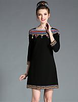 aofuli женщин зимы этнических марочные элегантность вышитые кисточкой плюс размер тонкий 3/4 рукав платья