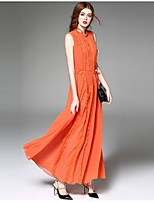 Angel Women's Going out Street chic Chiffon Dress,Solid Stand Maxi Sleeveless Black / Orange Polyester Summer