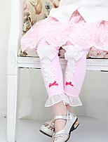 Girl's Cotton Spring/Autumn Cute Bowknot Lace Trim Leggings Pants
