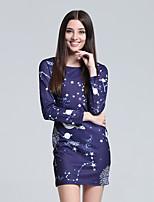 Damen Hülle Kleid-Lässig/Alltäglich Niedlich Galaxis Rundhalsausschnitt Mini Langarm Blau Baumwolle Herbst Hohe Hüfthöhe Mikro-elastisch