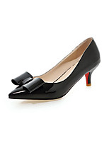Women's Kitten-Heels Japanned Leather Solid Pull-on Pointed Closed Toe Pumps-Shoes