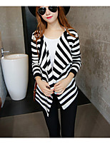 Women's Casual/Daily Simple Long Cardigan,Striped Black V Neck Long Sleeve Cotton Summer Medium