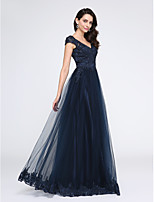 TS Couture® Formal Evening Dress A-line V-neck Floor-length Tulle with Appliques / Beading
