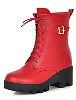 Women's Shoes Winter Combat Boots / Round Toe Boots Dress / Casual Wedge Heel Lace-up Black / Yellow / Red