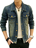 Men's Long Sleeve Casual / Plus Size Jacket,Cotton Solid Blue MF-1505