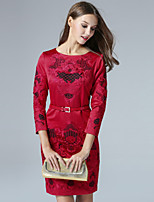 Boutique S Women's Casual/Daily Vintage Shift Dress,Embroidered Round Neck Above Knee ¾ Sleeve Red Polyester Fall