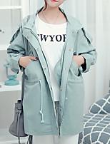 Damen Solide Einfach Ausgehen / Lässig/Alltäglich Trenchcoat,Herbst Gekerbtes Revers Langarm Grün Mittel Polyester
