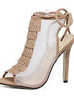 Women's Sandals Spring / Summer / Fall Heels / Peep Toe Leather / Tulle Party & Evening / Dress Stiletto Heel Lace-up