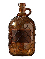 Barbed Wire Retro Amber Glass Vase Decorative Glass Bottle Ornaments Crafts (13.5 * 18cm)