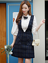 Women's Going out / Casual Vintage / Sophisticated A Line Dress,Plaid Strap Above Knee Sleeveless