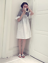 Maternity Casual/Daily Simple Loose Dress,Striped Round Neck Knee-length Short Sleeve Blue / White Cotton Summer