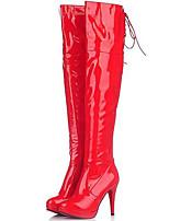 Damen-Stiefel-Party & Festivität-Lackleder-Stöckelabsatz-Modische Stiefel-Schwarz / Rot / Weiß