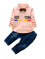 Мальчик Набор одежды,На каждый день,С принтом,Хлопок,Осень,Синий / Розовый / Белый