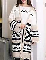 Women's Casual/Daily Cute Long Cardigan,Embroidered Black V Neck Long Sleeve Wool Fall / Winter Medium