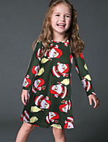 Vestido Chica de-Fiesta/Cóctel-Estampado-Poliéster-Invierno / Otoño-Verde