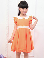 Girl's Cotton Summer Fashion Lace Belt Solid Color Dress