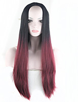 28inch Highlights Black Burgundy Ombre Wig For Women Heat Resistant Synthetic Long Straight Hair Perucas Sintetico