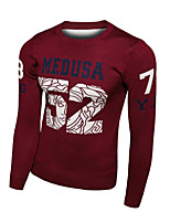 Men's Letter Casual Pullover,Cotton Long Sleeve Black / Blue / Red