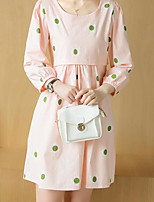 Maternity Casual/Daily Simple Loose Dress,Polka Dot Round Neck Above Knee ¾ Sleeve Pink / Green Polyester Summer