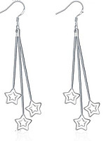 Personality OL Fine S925 Silver Simplicity Star Tassel Drop Earrings for Women Wedding Party Jewelry