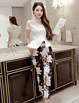 Boutique S Women's Going out Vintage / Cute Spring Set Skirt,Solid Crew Neck Short Sleeve White Cotton Opaque/Set