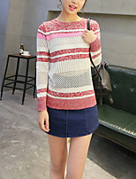 Women's Casual/Daily Street chic Regular Pullover,Striped Red Round Neck Long Sleeve Polyester Spring / Fall Thin