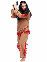 Cosplay Costumes Pirate Movie Cosplay Brown Solid Top / Pants / Headpiece Halloween / Christmas / New Year Male Polyester