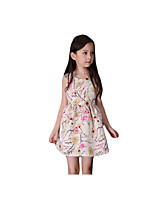 Girl's Casual/Daily Print Dress,Rayon Summer Beige