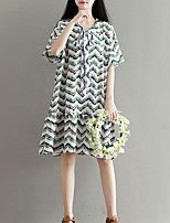 Maternity Casual/Daily Street chic Loose Dress,Print Round Neck Knee-length Short Sleeve White Polyester Summer